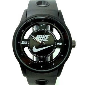 Nike Swoosh Watch Sport Silicone Band Black Strap Black Face Dial Wristwatch